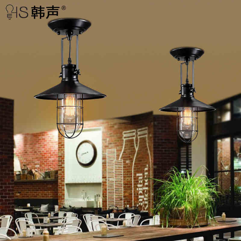 American Countryside Loft Style Wrought Iron Industrial Vintage Ceiling Lights Foyer Lamp Bars Decoration Light Free Shipping retro matte black iron ceiling light american industrial iron lights