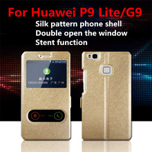 New For Huawei P8 P9 P10 G9 Nova Lite Cover Dual View Windows Silk Texture PU Leather Stand Phone Case For Huawei P9 P10 Plus