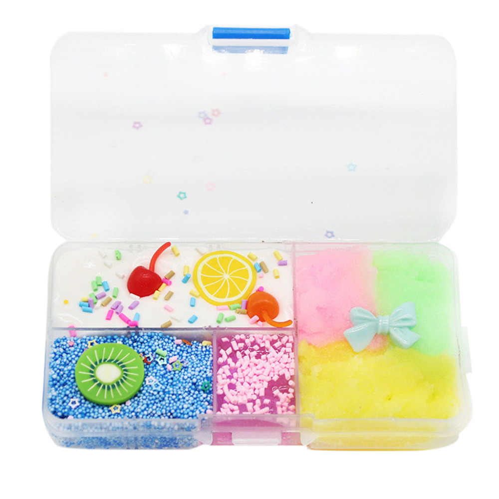 DIY Charms Slime Kit Color Mud Boxed Cherry Cotton Clay Cute  Elasticity Plasticine Blue Crystal Clay Stress Relief Toy Kid Gift