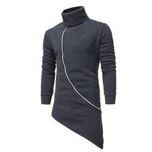 Casual Hoodies Sweatshirts hip hop black Turtleneck hoodie men Oblique zipper moletom tracksuit winter Irregular sweatshirt