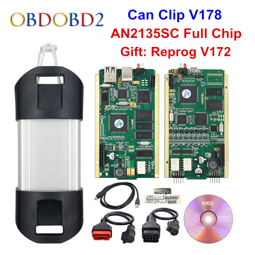 Best AN2135SC/AN2131QC Full Chip For Can Clip V178 + Reprog V172 Auto Diagnostic Tool Gold PCB For Can Clip Cars 1998-2017