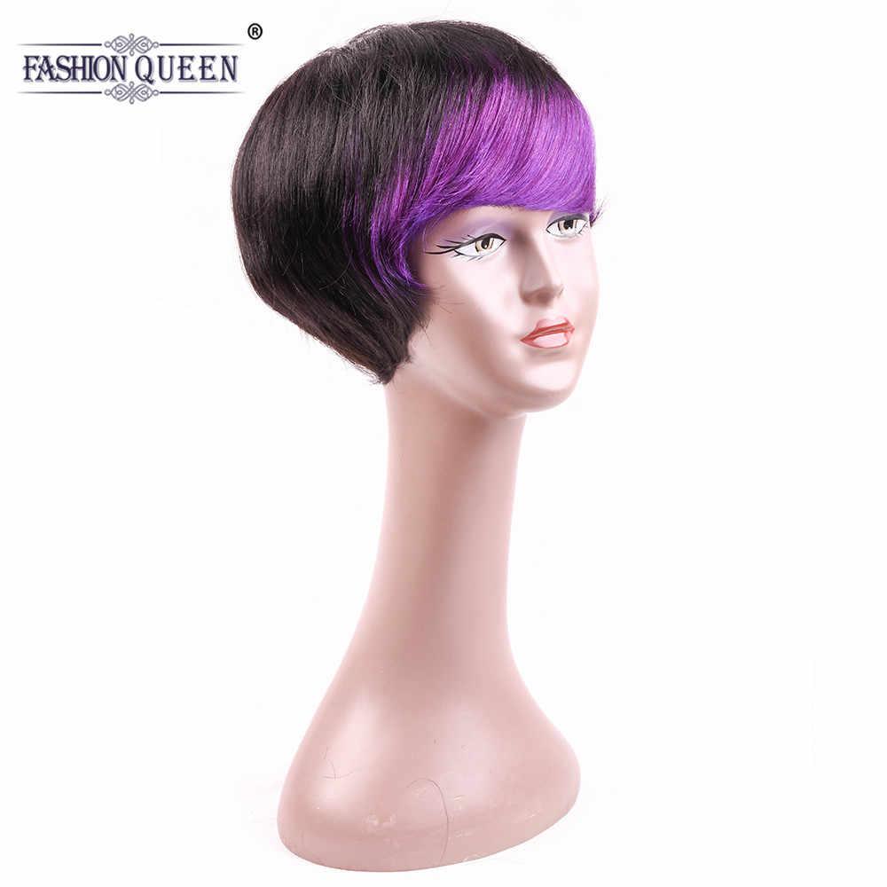 Натуральные волнистые волосы короткие человеческие волосы парики с волосами младенца prupple взрыва короткие боб парики для черных женщин не Реми