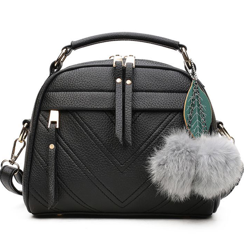 Women Messenger Bags Inclined Shoulder Bag Women Leather Handbags Hair Ball Crossbody Bags For Women Zipper Fashion High Quality
