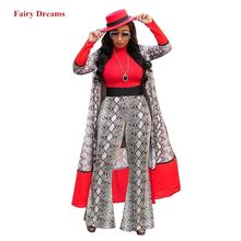Women Traditional African Clothing Mujer Vestido Africano 3 Piece Set Cardigan Top And Pants Red Shirt Print Coat Trousers 2019(China)