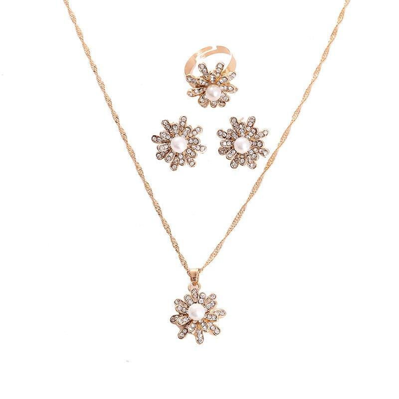 Aufrichtig Winter Weiße Schneeflocke Imitation Perle Halskette Ohrring Set Österreichischen Kristall Gold Farbe Halskette Schmuck Sets Für Frauen Waren Jeder Beschreibung Sind VerfüGbar