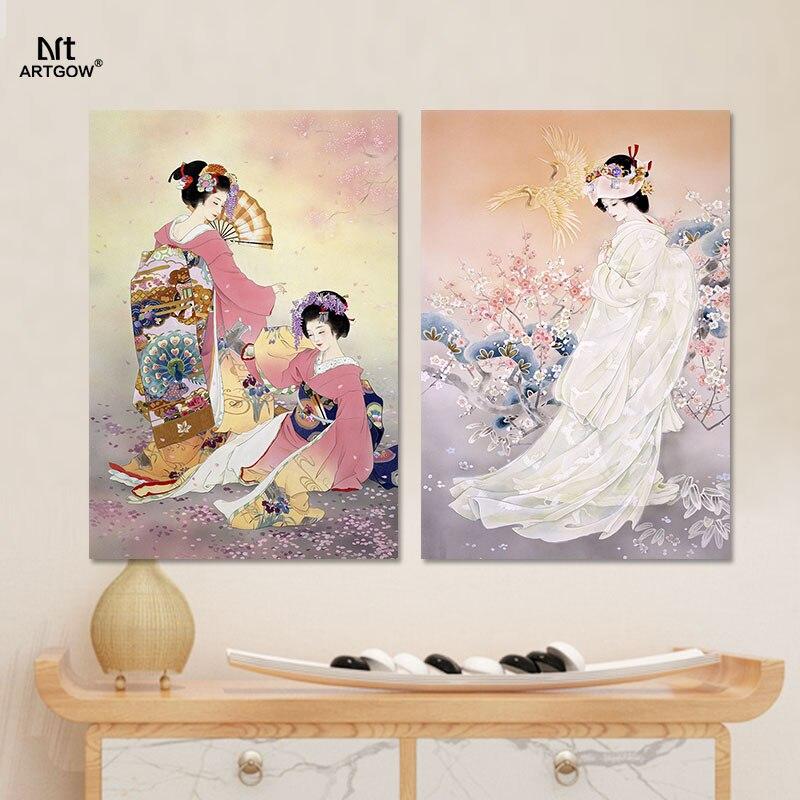 Aliexpress Japan Stil Bilder Dekoration Plum Blume Rosa Kimono Lady Leinwand Malerei Wandkunst Hngen Japanischen Wohnzimmer Unframed Von