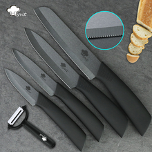 Ceramic Knife 3 4 5 + 6 inch Serrated Bread Knife + Peeler Kitchen Chef Fruit Vegetable Knives Black Zirconia Blade Cooking set