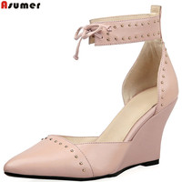 ASUMER Black Pink Pointed Toe Fashion Spring Autumn Ladies Shoes Elegant Wedges Shoes Women Genuine Leather