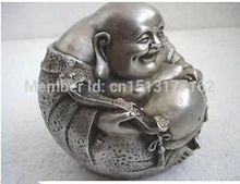 Chinese Old rare luck tibetan silver smile buddha statue Garden Decoration Bronze Finish Buddha Healing Statue