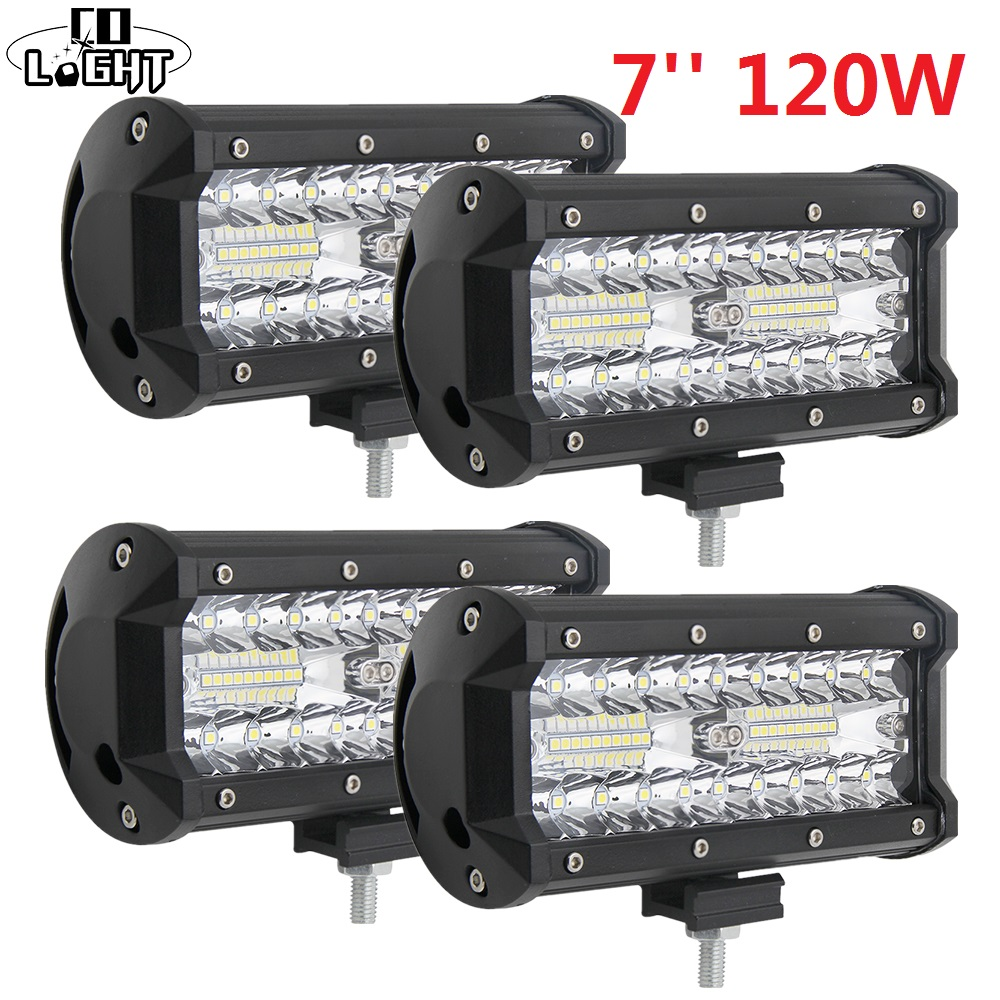 CO LIGHT Led Light Bar 120W 7 Inch Work Light Spot Flood Combo For Truck Kamaz Uaz Lada Jeep Wrangler Off Road Accessories