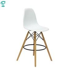 94892 Barneo N-11 пластиковый кухонный стул высокий барный стул на деревянном основании стул высокий стул белый стул для барной стойки мебель для кухни кресло для бара Казахстан по России