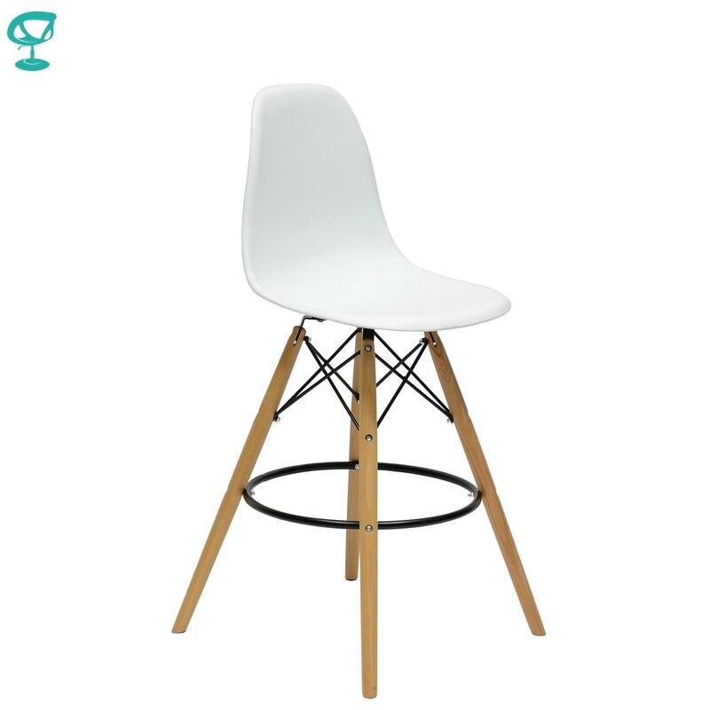 94892 Barneo N-11 пластиковый кухонный стул высокий барный стул на деревянном основании стул высокий стул белый стул для барной стойки мебель для к...