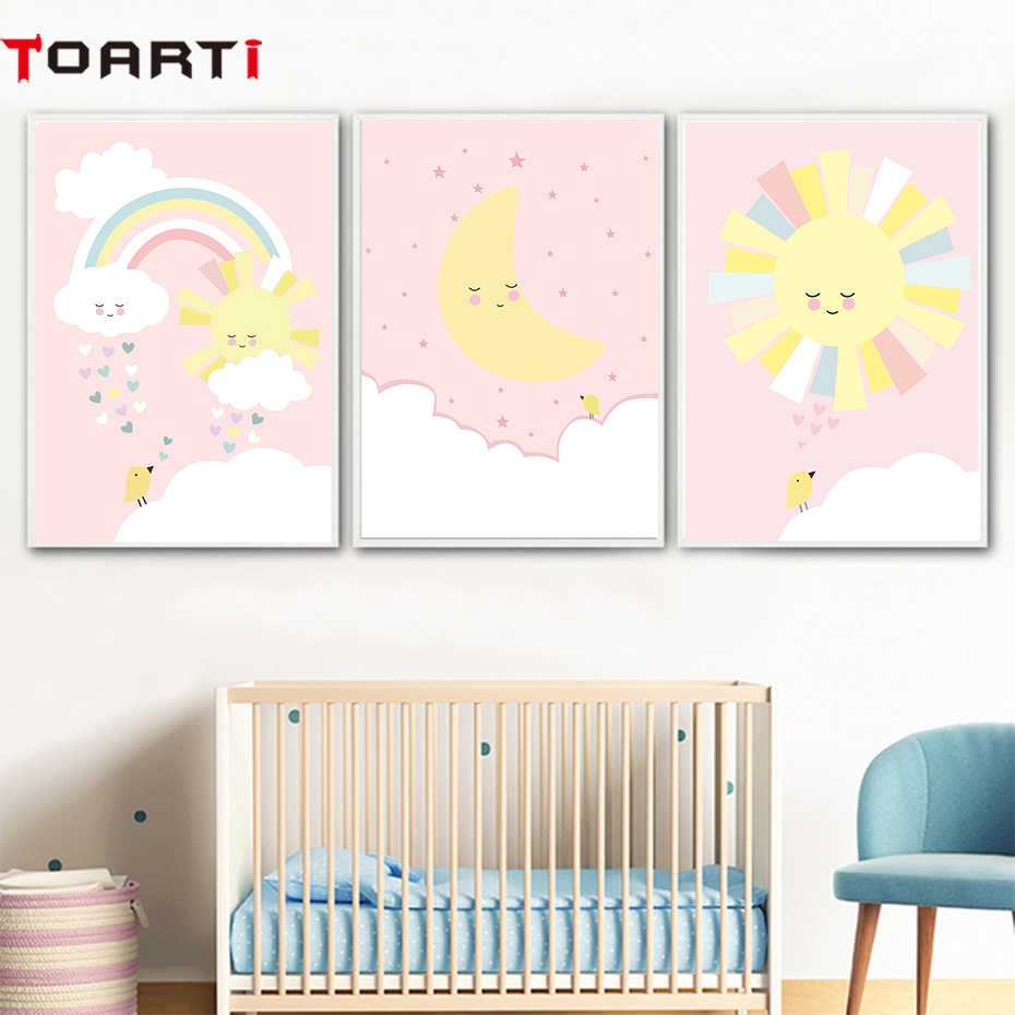 Pink Sun Rainbow Moon Poster And Prints Wall Art Canvas Painting Wall Pictures For Kids Bedroom Baby Girl Room Nordic Home Decor