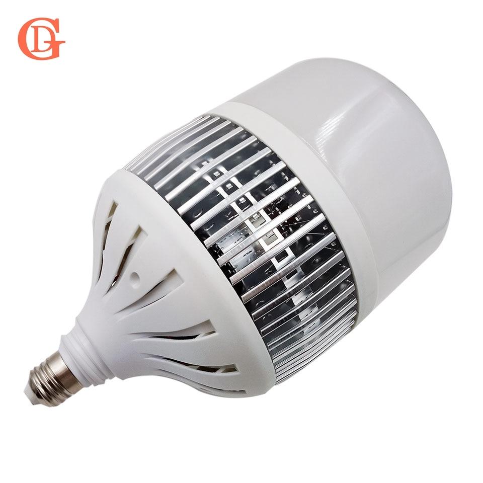 GD LED Bulb Lamp 50W 80W 100W 150W E27 LED Bulb With Fan 110LM / W lampada led With Fins Heatsink 220V 230V 240V LED Light Bulb high bright 50w 100w 150w 2835 smd 50 100 150leds led lamp bulb e27 pure white led light bulb ac220v 110v 6500k for factory