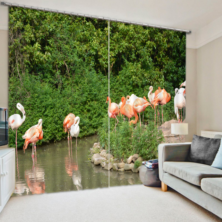 3D Flamingo Printing Curtains With Bedding Room Living Room or Hotel Cortians Thick Sunshade Window Curtains3D Flamingo Printing Curtains With Bedding Room Living Room or Hotel Cortians Thick Sunshade Window Curtains