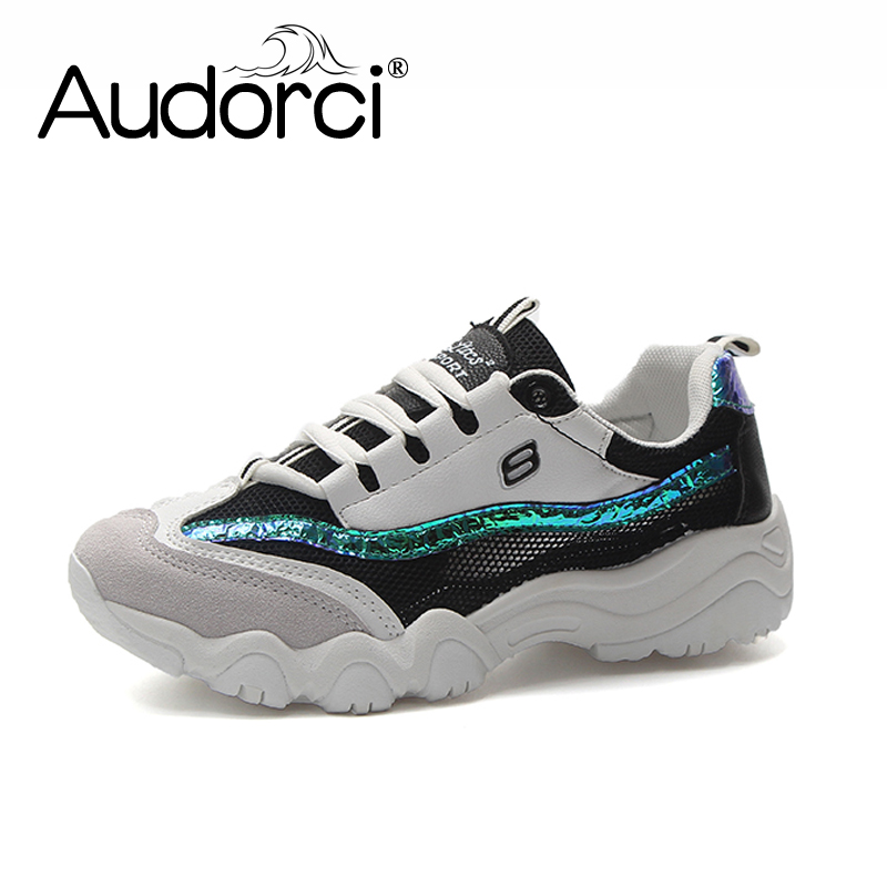 Audorci 2018 Summer Womens Clunky Sneakers Fashion Woman Lace-up Casual White Shoes Outdoor Mesh Sport Flats Shoe Size 35-40
