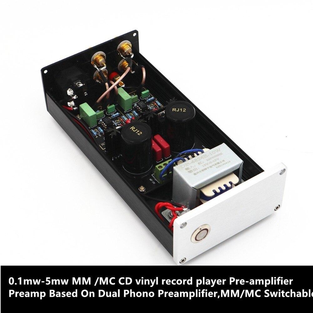Préamplificateur de lecteur de disque vinyle CD 0.1 mw-5 mw MM/MC basé sur un double préamplificateur Phono, commutable MM/MC