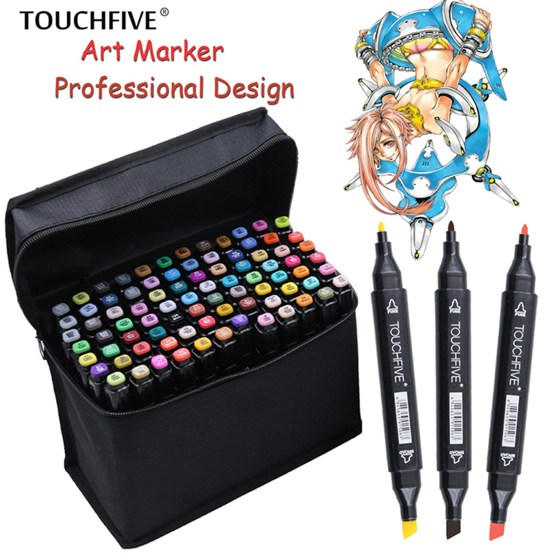 TouchFIVE 36/48/72/80/168 Colors Set Art Markers Alcohol Dual Headed Graffiti Pen Markers Pen touchfive markers Animation Manga touchnew 60 colors artist dual head sketch markers for manga marker school drawing marker pen design supplies 5type