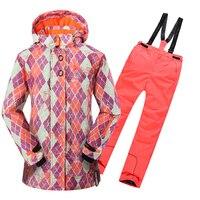 Новый зимний флисовый теплый костюм для катания на лыжах водонепроницаемая куртка и комбинезон для горных лыж для девочек зимняя детская о