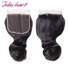 עלי ג וליה שיער Loose גל סגירת 4*4 אינץ סגירת תחרה שוויצרית ברזילאי רמי שיער טבעי הרחבות