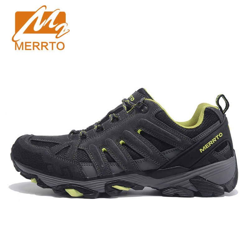 ФОТО MERRTO Men Walking Shoes Outdoor Cowhide Sneakers Waterproof Breathable Sports Solid Shoes#18611