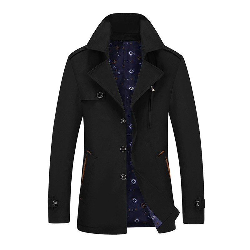 2018 New Arrival Autumn Winter Fashion   Trench   Coat Men Size M-4XL   Trench   Men Solid Casual Jacket Men Black Blue Coats For Male