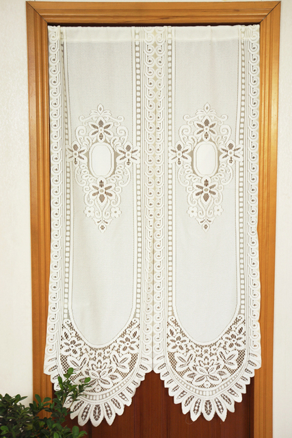 French Lace Kitchen Curtains Counter Covers White Cafe Bedroom Decorative Door Curtain Rideaux Cortinas Para Sala De Estar Free Shipping