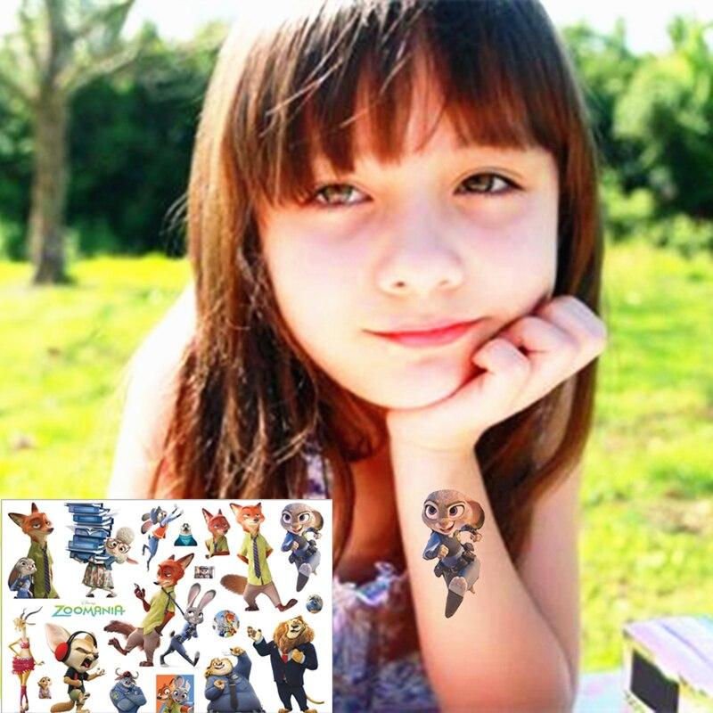 Zootopia Bunny Tilki Çocuk Aşk Geçici Vücut Sanatı Oyuncaklar, flaş Dövme Sticker 17*10 cm, doğum günü Xmas Bebek Duş Parti Hediye