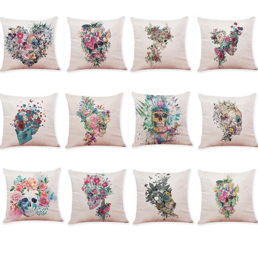 2018 Home Decor Cushion Cover Skull Style Throw Pillowcase Pillow Covers For Car Sofa Free Drop Shipping A JA22
