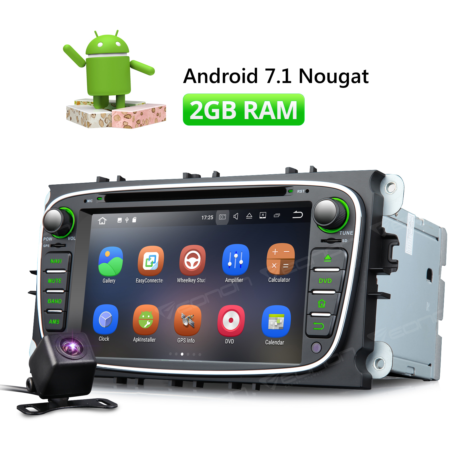 Camera & Eonon 7 Android 7.1 Car CD DVD Player GPS Navigation For Ford Mondeo 2007-2011 Focus 2008-2010 S-max 2008-2010