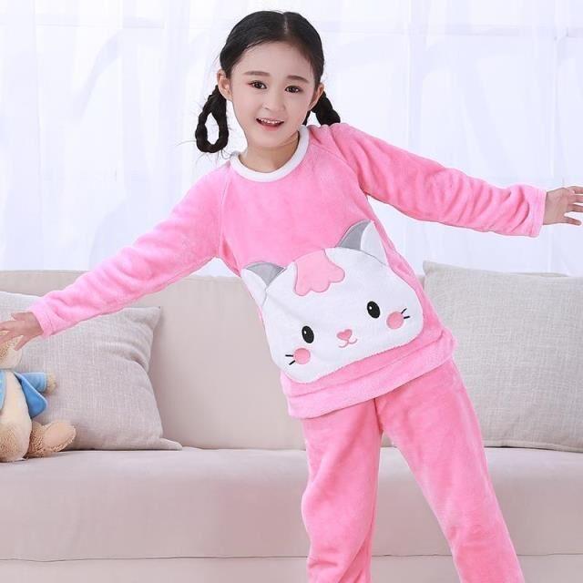 a2def59298 NEW Winter Children Fleece Pajamas Thicken Warm Flannel Sleepwear Girls  Lounge Wear Coral Fleece Kids Homewear Pyjama Sets fr55