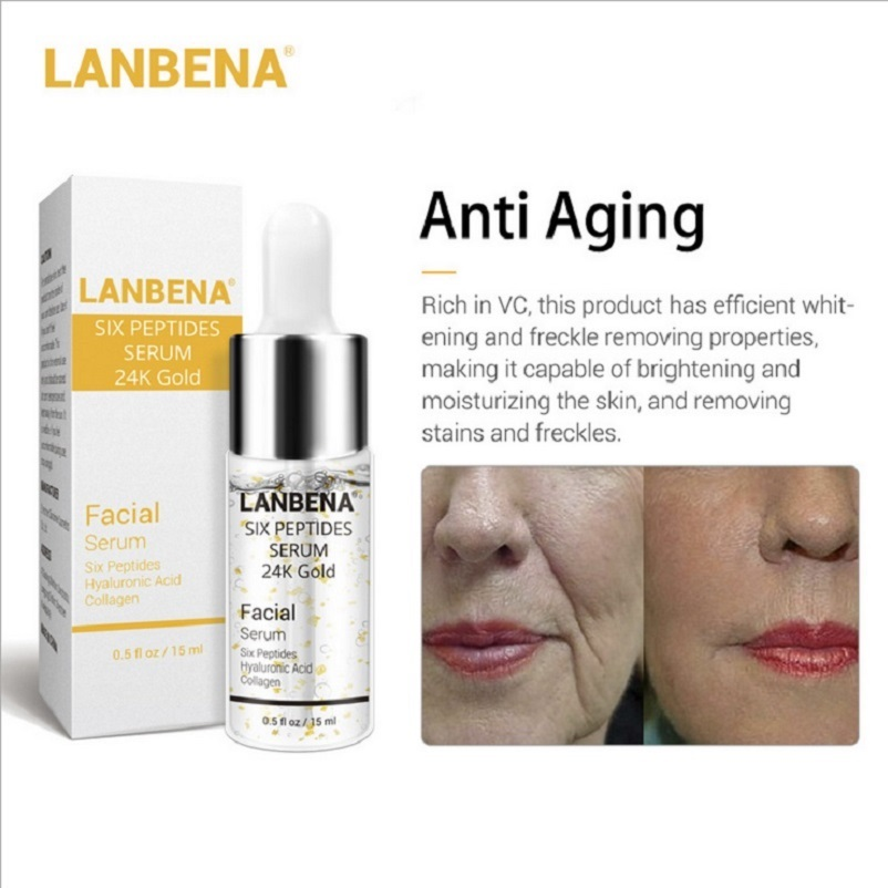 Image 3 - 30pcs LANBENA Six Peptides 24K Gold Vitamin C Serum Hyaluronic Acid Serum Anti Aging Moisturize Skin Care Whitening Brighten-in Serum from Beauty & Health