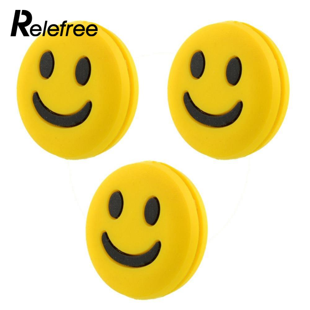 Relefree Mini 3pcs Silicone Rubber Smile Face Shock Vibration Dampener Absorber for Sports Tennis Racquet Racket Accessories