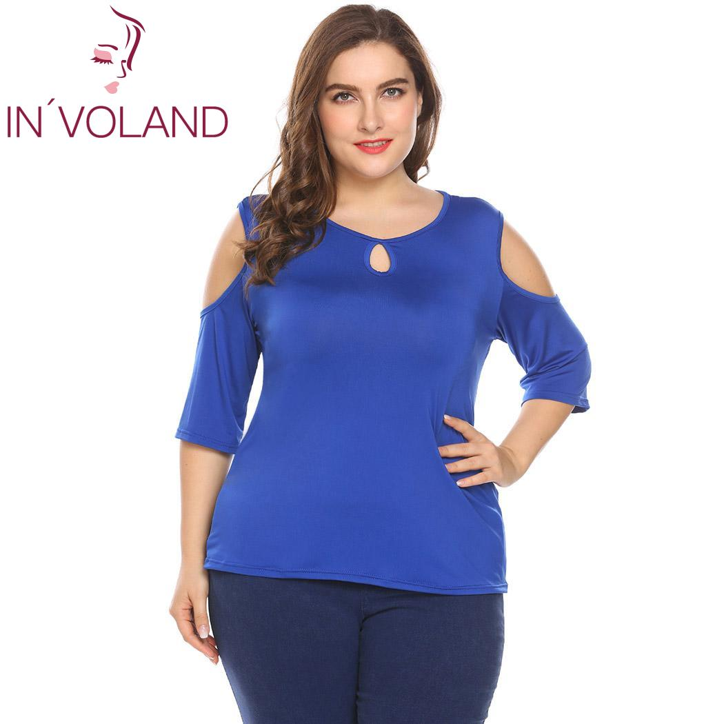 IN'VOLAND Women T-Shirts Tops Plus Size XL-5XL Keyhole Cold Shoulder 3/4 Sleeve Comfy Large Pullovers Tshirt Tees Oversized