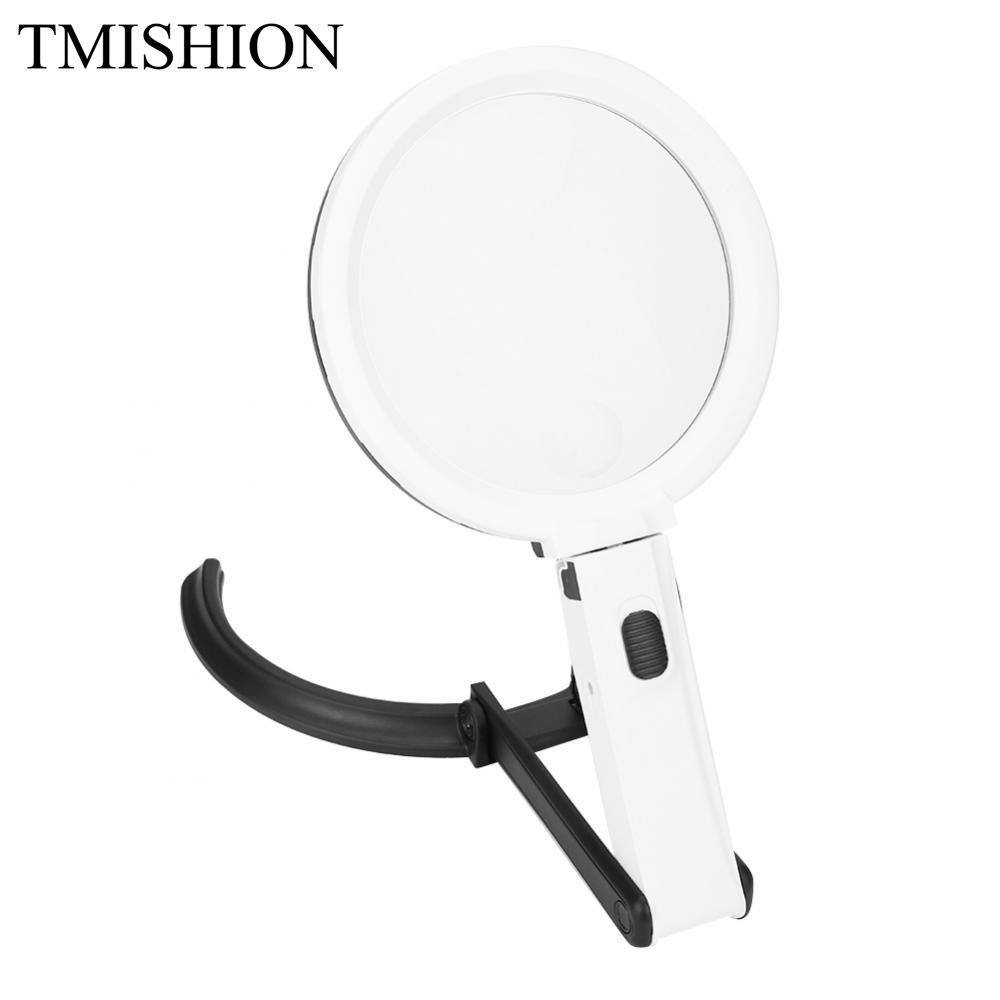 TMISHION Magnifier LED Tattoo Lamp Nail Art Tool 130mm Thick Table Magnifier Glass Lamp 1.8X 5X Magnifier Desk Nail Art Lamp