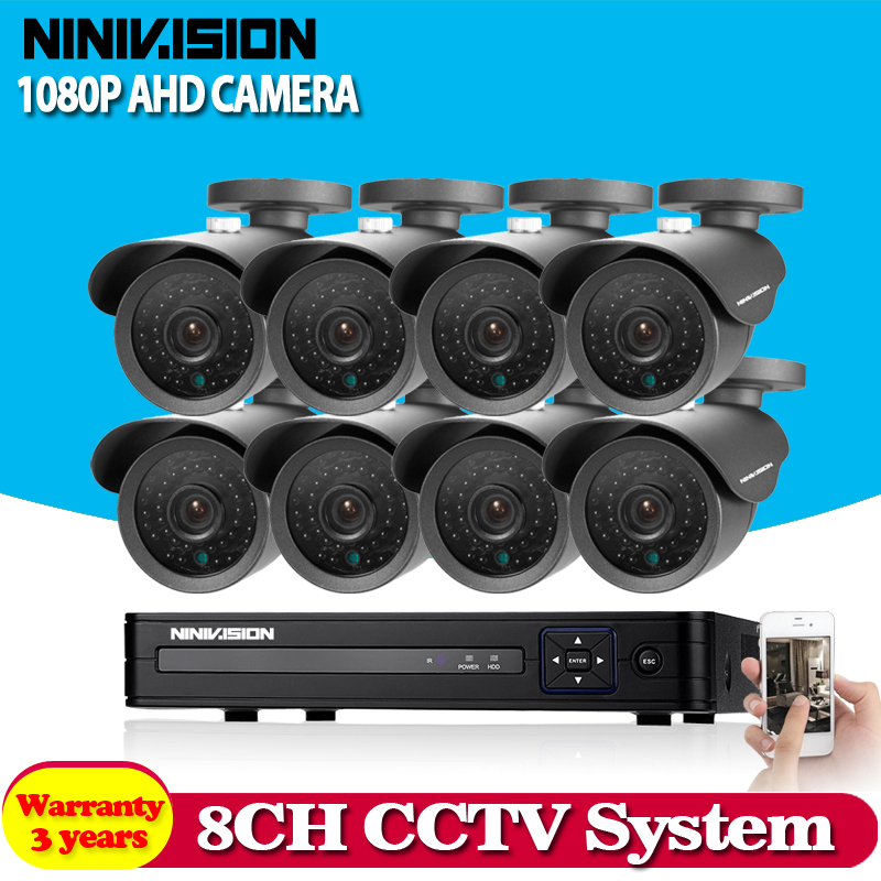 Home HD 8CH CCTV System 1080P DVR 8PCS 1080P 3000TVL IR Outdoor Video Surveillance Security Camera System 8 channel CCTV Kit