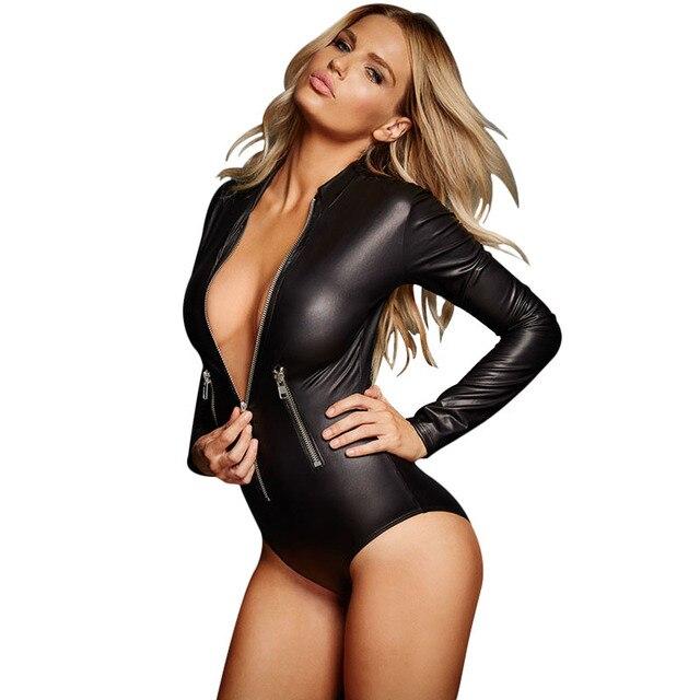 ec8d301c3c Sexy womens rompers bodysuit long sleeve Black PU one piece jumpsuit Zipper  pantalones peto mujer Mini