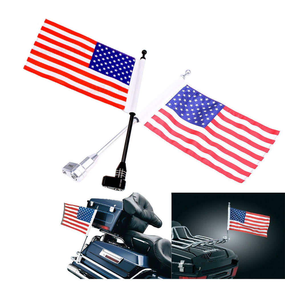 FREE SHIPPING Motorcycle Rear Side Mount Flag Pole USA Flag For Honda GoldWing GL1800 GL1500 2001 - 2011 Luggage Rack for honda goldwing gl1800 luggage rack vertical flag pole american