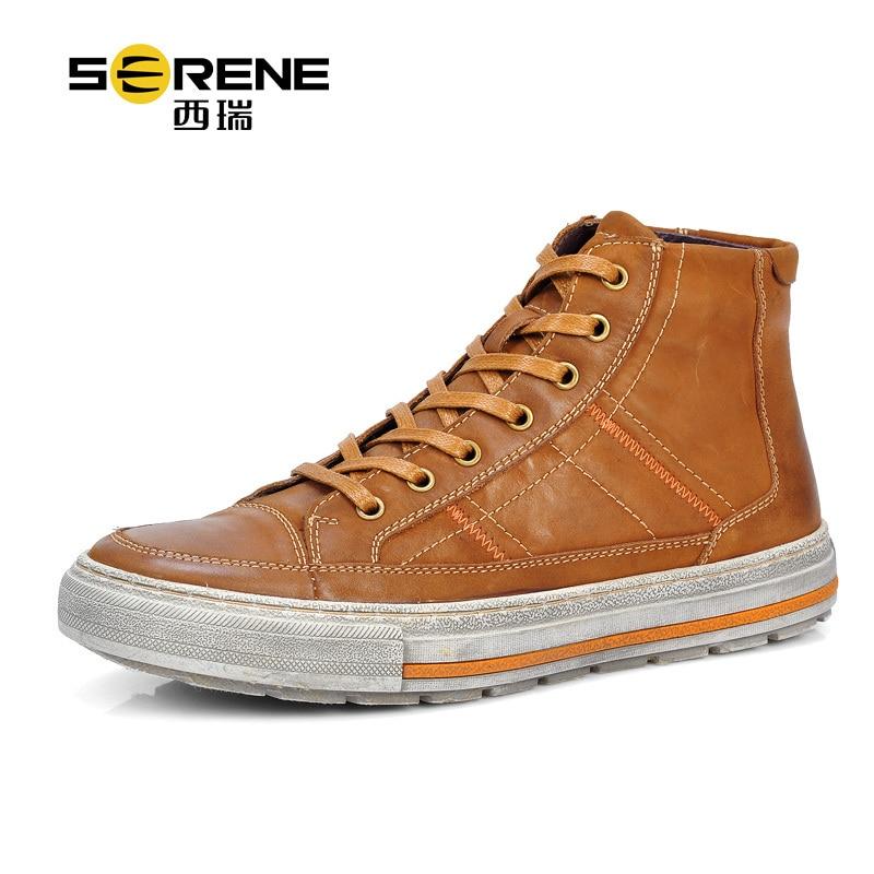Hombres SERENOS Zapatos de Los Planos 100% Real Genuino Lleno de Cuero Ocasional