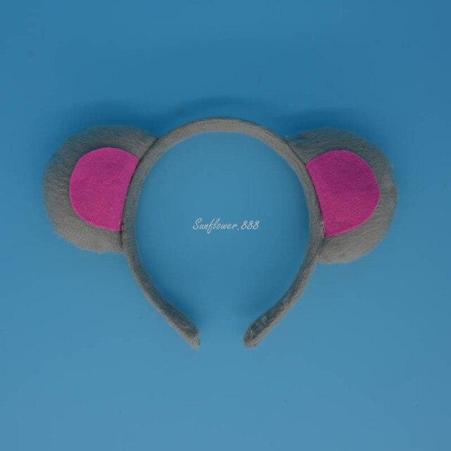 Kinder Grau Ratte Maus Ohr Stirnband Fliege Schwanz 3 stücke Set Für Kinder Party Kostüm Cosplay Halloween Weihnachten
