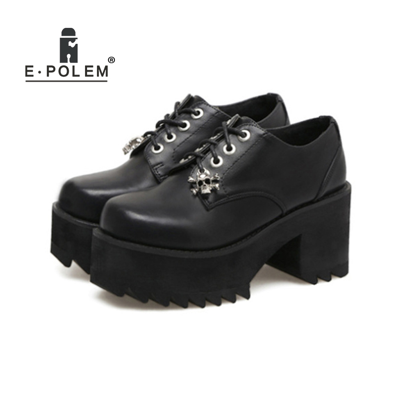 2018 Fashion Skull Decoration Punk High-Heeled Shoes Harajuku College Rough Heel Shoes British Retro Lace Up Martin Boots 2017 new retro shoes lace high heeled boots martin british burning ultra thick with round head short boots female big shoes