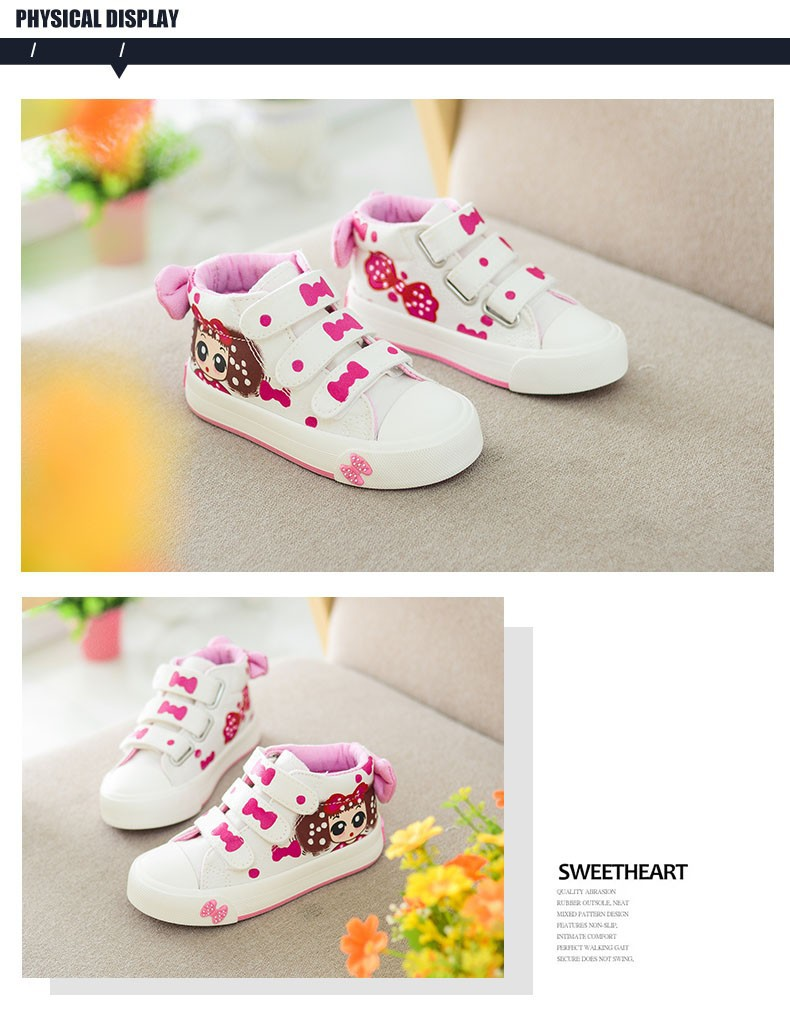 17 New Canvas Children Sneakers Bowknot Baby Girls Princess Shoes Denim Kids Sneakers Polka Dot Flat Boots for Girls 2