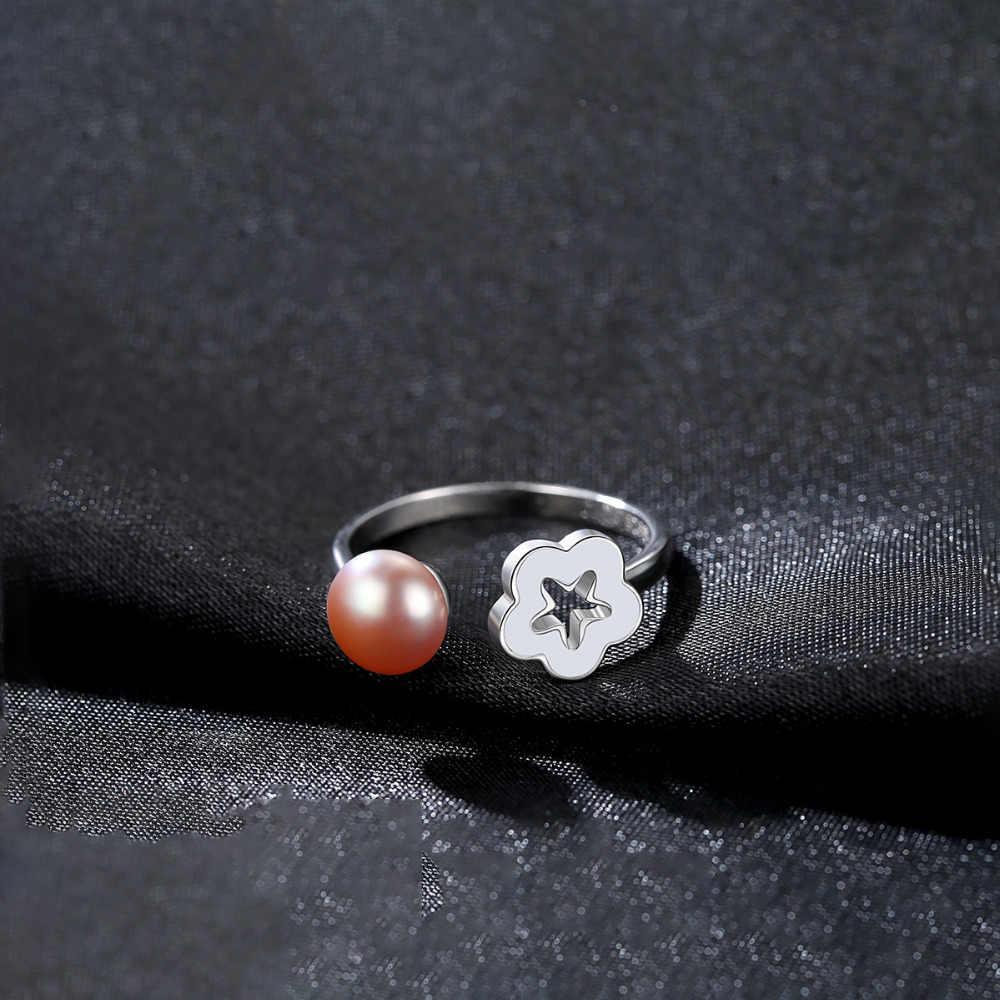 DR mode creux fleur perle anneaux pour les femmes véritable 925 en argent Sterling réglable fête anneaux 2019 beaux bijoux datation cadeaux
