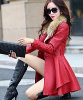 2016 Autumn And Winter Women S Trench Leather Clothing Women Medium Long Fur Collar Leather