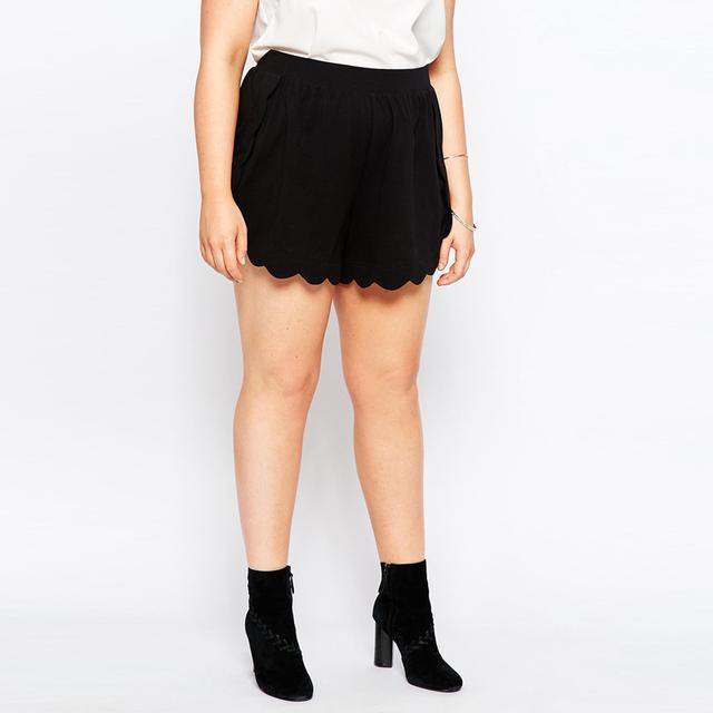 Cortocircuitos de las mujeres de muy buen gusto más el Tamaño 5XL Más El estilo de la moda nueva ola de fondo negro ocasional de la gasa corta SR2067