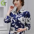 2017 Mais Novo Plus Size Camisa Das Mulheres da Cópia Floral Blusa Da Moda Longos Das Senhoras Da Luva Chiffon Tops Retro China Mulheres Blusas Casuais