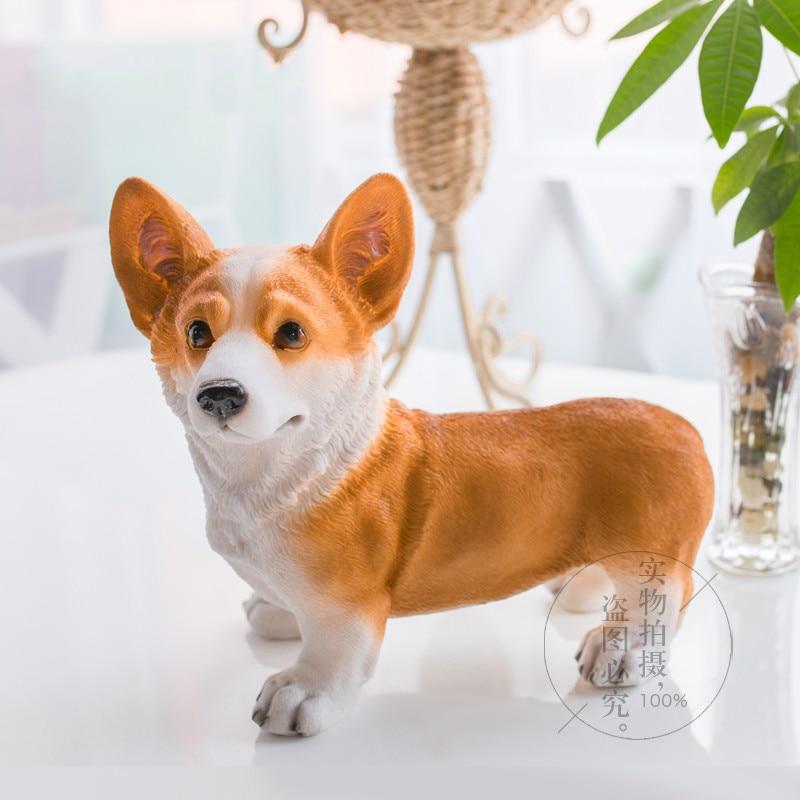 Qualité mode Kawaii Animal créatif famille salon meuble TV ornements résine décorations pour la maison modèle de Simulation Corgi