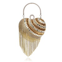 Evening Bag 2017 Women Chain Rhinstone Shoulder Handbag Singer Side Diamonds Purse Party Clutches Tassel Purse