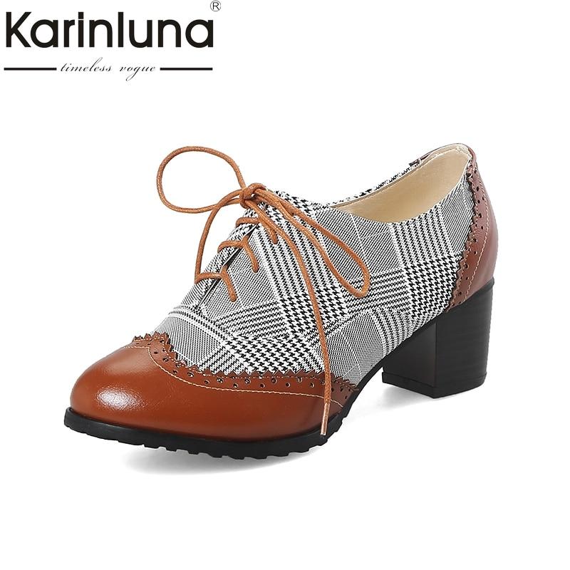 1804e4d50edbe Women oxford pumps shoes vintage leather yinzo ladies lace up Pumps ...