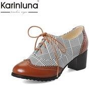KARINLUNA Plus Size 34 48 Customized Retro British Style Women Shoes Woman Pumps Fashion Lace Up Woman Brogue Shoes
